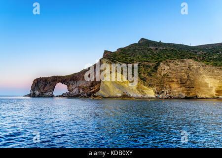 Pollara and Punta Perciato, Salina, Aeolian Islands, Sicily, Italy - Stock Photo