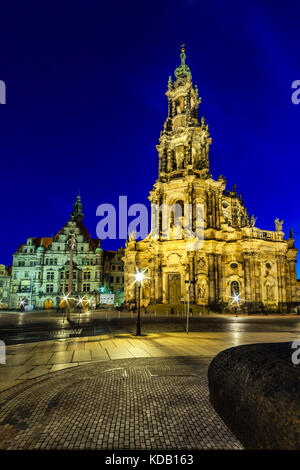 The Kreuzkirche 'Church of the Holy Cross' in Dresden, of the Evangelical Church in Germany - Stock Photo
