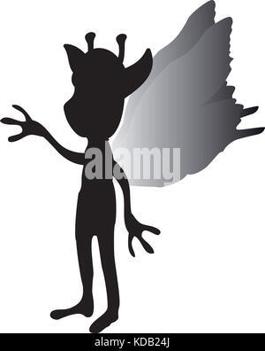 Pixie silhouette mythical animal fantasy. Vector illustration. - Stock Photo