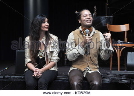 sananda maitreya formerly known as Terence Trent D'Arby and luisa corna, presentation of the new album prometheus - Stock Photo