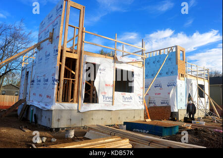 Two new houses under construction in London, Ontario in Canada. - Stock Photo