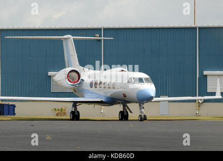 Luxury private jet parked on the ground - Stock Photo