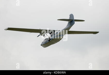 World War II era flying boat airborne - Stock Photo