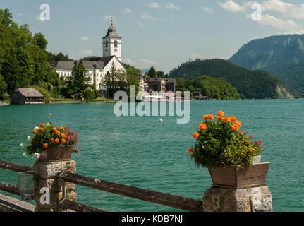 Sankt Wolfgang am Wolfgangsee (Salzkammergut, Austria) in summer blue sky - Stock Photo