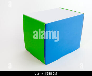 Simple square blue, green and white box. - Stock Photo