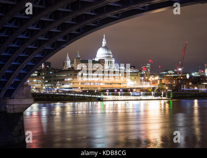 A view of St. Paul's Cathedral as seen from Blackfriars Bridge in London, UK. - Stock Photo
