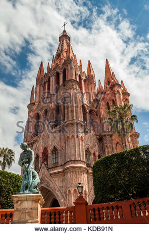 View of the Neo-gothic Templo San Miguel Arcangel. - Stock Photo