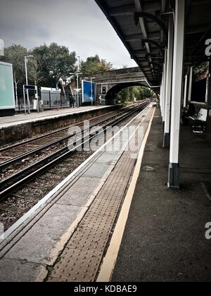 Old train station in Hounslow Central in London. Railway. - Stock Photo