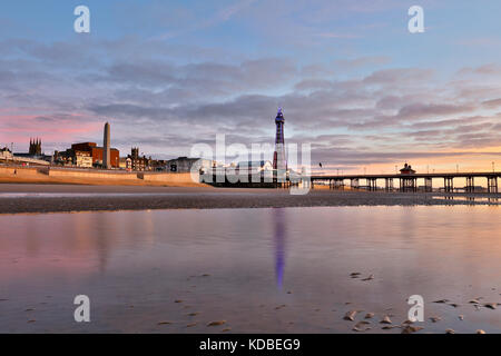 Blackpool; Tower and North Pier; Lancashire; UK - Stock Photo