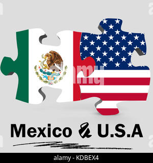 USA and Mexico Flags in puzzle isolated on white background, 3D rendering - Stock Photo