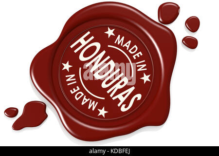 Label seal of Made in Honduras isolated on white background, 3D rendering - Stock Photo