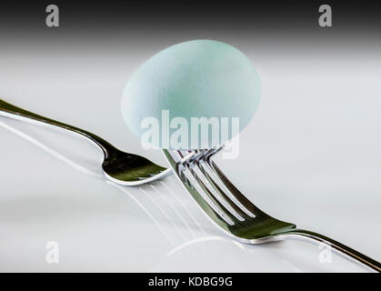 Blue Dunbar eggs part of a healthy balanced diet - Stock Photo
