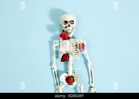 Isolated plastic toy skeleton with red roses between bones on a vibrant pop blue turquoise background. Minimal color - Stock Photo