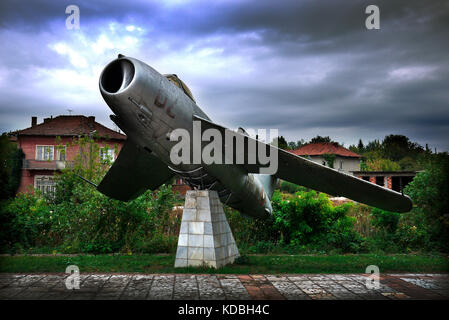 Mig fighter aircraft on display in village of Kamenets in the Pleven province of Bulgaria. - Stock Photo