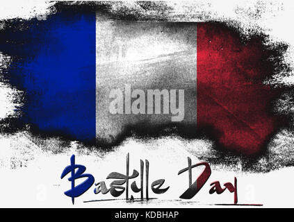 Bastille Day in France painted with brush on solid background, - Stock Photo