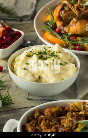Homemade Creamy Whipped Mashed Potatoes with Chives - Stock Photo