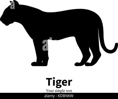 Vector illustration of black silhouette of a tiger - Stock Photo
