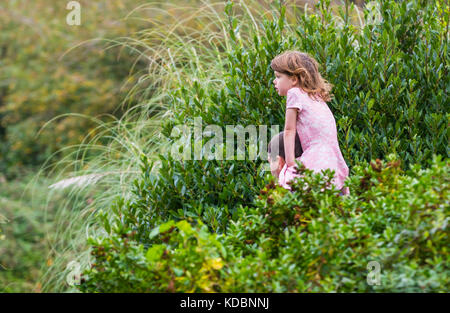 Young girl being carried on a man's shoulders, a piggyback ride, through a park in the UK. - Stock Photo