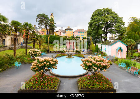 Portmeirion is a tourist Italian style village in Gwynedd, North Wales. Designed and built by Sir Clough Williams - Stock Photo