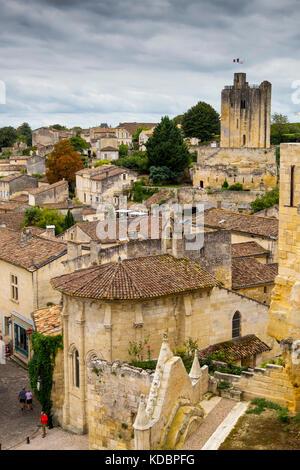Panoramic view, Saint-Emilion Bordeaux wine region. Aquitaine Region, Gironde Department. France Europe - Stock Photo