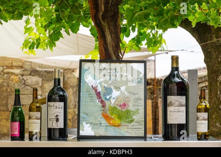 Variety of wine bottles. Saint-Emilion Bordeaux wine region. Aquitaine Region, Gironde Department. France Europe - Stock Photo