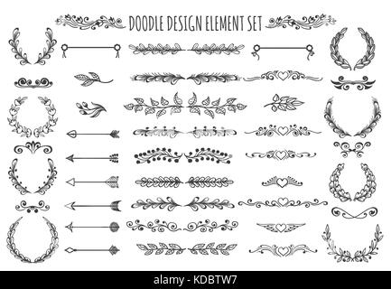 Set of doodle design elements. hand drawn Arrows, wreaths, dividers, headers, hearts and other floral elements for - Stock Photo