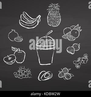 Smoothie and fruits. Illustration on chalkboard. Hand drawn healthy food sketch. Black and White Vector Drawing - Stock Photo