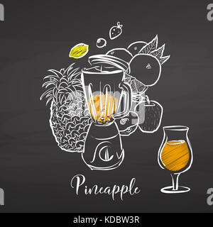 Pineapple smoothie scene on chalkboard. Hand drawn healthy food sketch. Black and White Vector Drawing on Blackboard. - Stock Photo