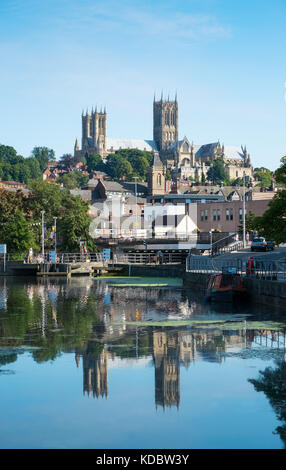 Lincoln, UK. August 26th 2017. Lincoln Cathedral seen from Brayford pool, the inland port - Stock Photo