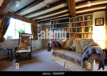 sitting room in old beamed ceiling Derbyshire cottage - Stock Photo