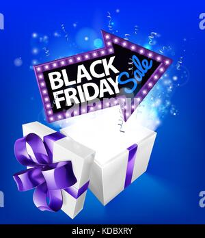 Black Friday Sale Gift Box Sign - Stock Photo