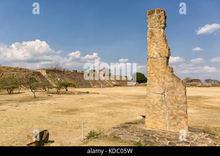 Monte Alban  is a large pre-Columbian Zapotec archaeological site in Xoxocotlan area of Oaxaca Mexico - Stock Photo