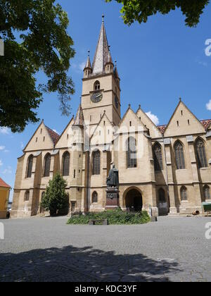 Beautiful evangelical gothic cathedral in Sibiu, Romania - Stock Photo