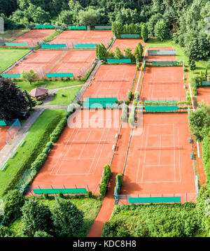Aerial view of 10 tennis courts for playing tennis - Stock Photo