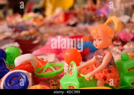 Beautiful handmade showpieces in a roadside souvenir shop in Dhaka - Stock Photo
