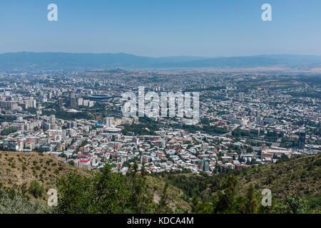 View over city of Tbilisi, Georgia, Eastern Europe. - Stock Photo