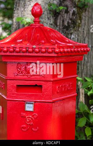 1866 Penfold Hexagonal pillar-box, The Square, Buxton, Derbyshire, England, UK - Stock Photo