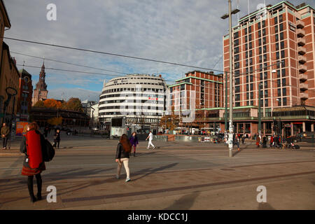 Tram lines and an underground station in the centre of Oslo, Norway with the cathedral on the left - Stock Photo