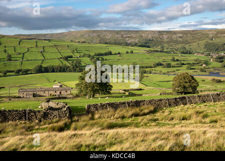 Beautiful countryside around Reeth in Swaledale, North Yorkshire, England. - Stock Photo