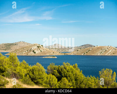 Aerial panoramic view of islands in Croatia with many sailing yachts between, Kornati national park landscape in - Stock Photo
