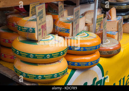 Dutch cheese for sale on a Market stall in Amsterdam, The Netherlands - Stock Photo
