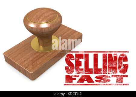 Selling fast quallity wooded seal stamp on white, 3D rendering - Stock Photo