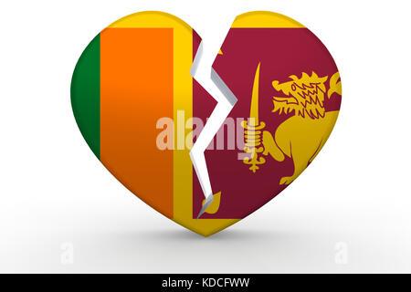 Broken white heart shape with Sri Lanka flag, 3D rendering - Stock Photo