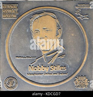 Nobby Stiles plaque at the National Football Museum - Stock Photo