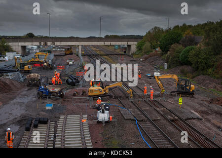 Carrying out engineering  work during an all day Sunday possesion at Kirkham on the Preston - railway Blackpool - Stock Photo