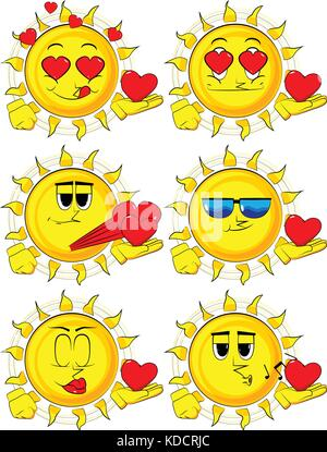 Cartoon sun holding red heart in his hand. Collection with various facial expressions. Vector set. - Stock Photo