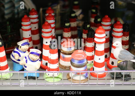 Souvenirs from the Baltic Sea: Wooden lighthouses. - Stock Photo