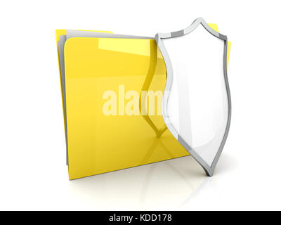 3D illustration of a shielded and guarded Folder. - Stock Photo