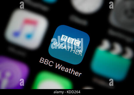 A close-up shot of the logo representing BBC Weather app icon, as seen on the screen of a smart phone (Editorial - Stock Photo