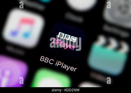 A close-up shot of the logo representing BBC iPlayer app icon, as seen on the screen of a smart phone (Editorial - Stock Photo